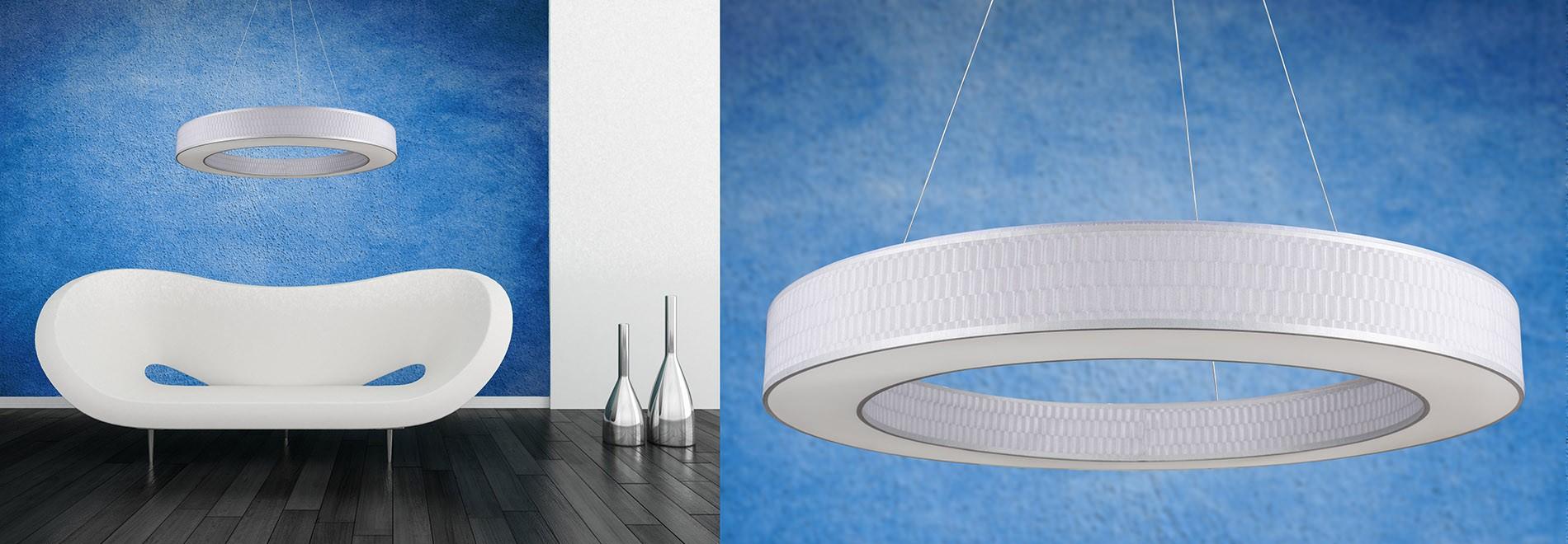 Żyrandol Tubus LED, abażur Piamonte Plomo